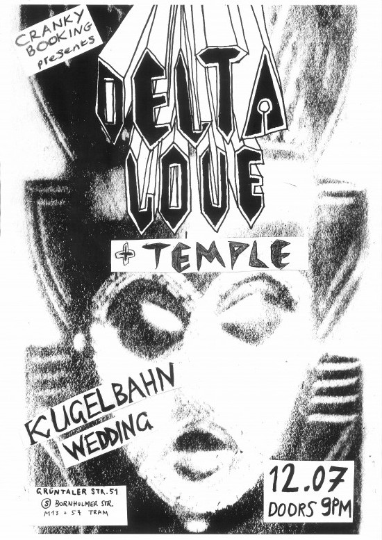 Delta Love + Temple at Kugelbahn Wedding, Berlin Gig. Temple smoky carrot post tempus Kugelbahn Wedding kugelbahn indie gigs tonight gigs in berlin tonight from under your kitchen sessions delta love backdoor Delta Love . rock psychedelic psych rock post punk new wave 2 lo fi indie garage rock