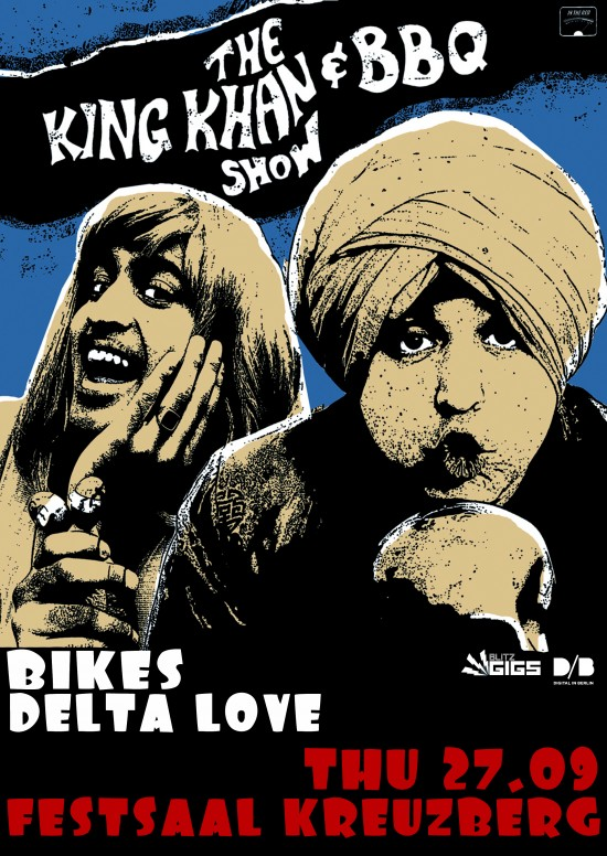 Blitzgigs Presents: King Khan & BBQ Show + Bikes + Delta Love at Festsaal Kreuzberg, Berlin Gig. post tempus king khan & bbq show gigs in berlin tonight Festsaal Kreuzberg Delta Love bikes . rock lo fi indie garage rock